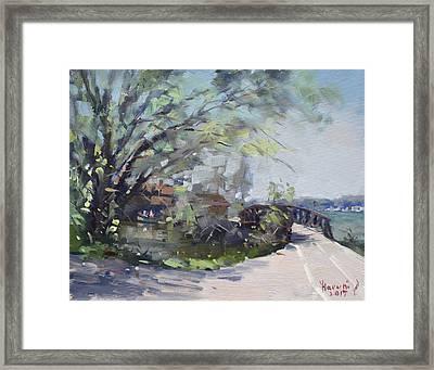 Canal At Niawanda Park Framed Print by Ylli Haruni