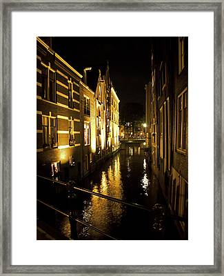 Canal At Night Framed Print