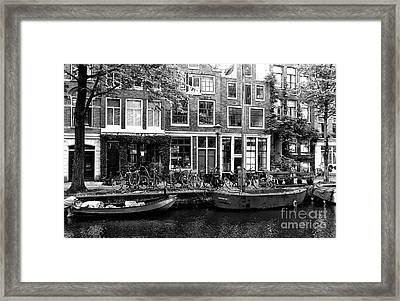 Canal Boats In Amsterdam Mono Framed Print