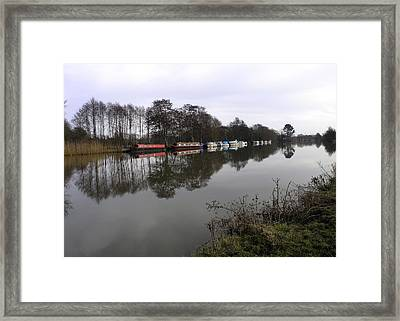 Canal Boats On The Thames Framed Print by Mike Lester
