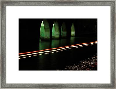 Canal By The Firehouse In Venice At Night Framed Print by Michael Henderson