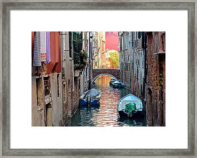 Canal Clothes And Colors Framed Print by Frozen in Time Fine Art Photography