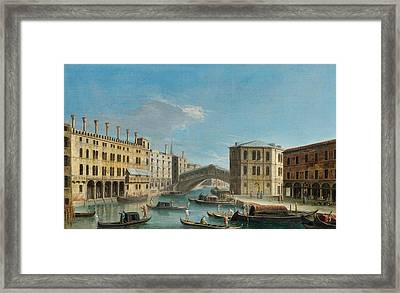 Canal Grande Overlooking The Rialto Bridge Framed Print by Apollonio Domenichini