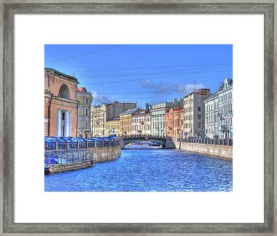 Canal In St. Petersburgh Russia Framed Print