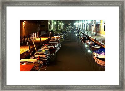 Canal In Venice At Night Framed Print by Michael Henderson