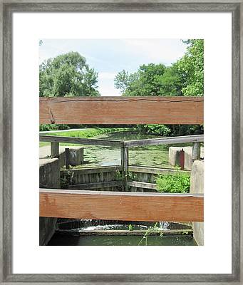 Canal Lock With A View Framed Print by Diane Stresing