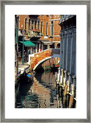Canal Next To Church Of The Miracoli In Venice Framed Print by Michael Henderson