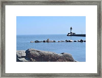 Canal Park Lighthouse Framed Print by Charles F Miller