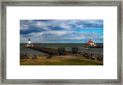 Canal Park Lighthouses Framed Print by Bonnie Follett
