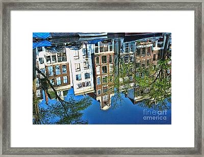 Framed Print featuring the photograph Amsterdam Canal Reflection  by Allen Beatty
