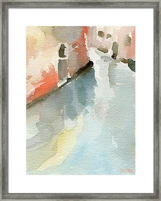 Canal Reflection Watercolor Painting Of Venice Italy Framed Print by Beverly Brown