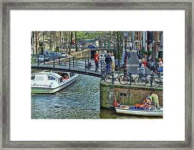 Framed Print featuring the photograph Amsterdam Canal Scene 1 by Allen Beatty