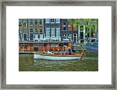 Framed Print featuring the photograph Amsterdam Canal Scene 10 by Allen Beatty