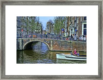 Framed Print featuring the photograph Amsterdam Canal Scene 3 by Allen Beatty