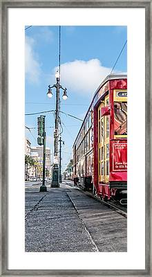 Canal Street Streetcar Triptych-left Framed Print by Andy Crawford