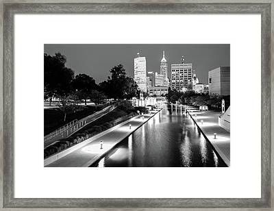 Canal Walk To The Downtown Indianapolis Skyline - Black And White Framed Print by Gregory Ballos