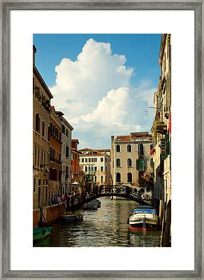Canal With Iron Bridge In Venice Framed Print by Michael Henderson