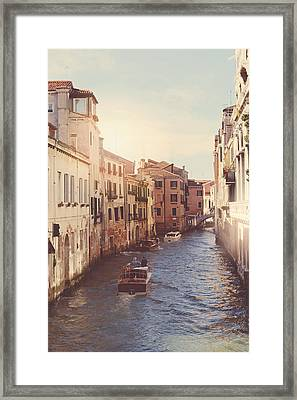 Canals Of Venice With Instagram Vintage Style Filter Framed Print