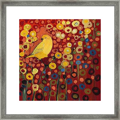 Canary In Red Framed Print by Jennifer Lommers