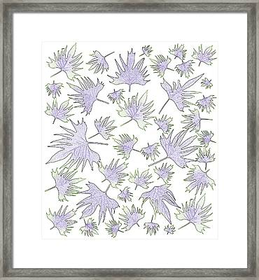 Canary Vine Leaves - Purple And Green Framed Print by Sandra Foster