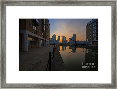 Canary Wharf Sunrise Framed Print by Donald Davis