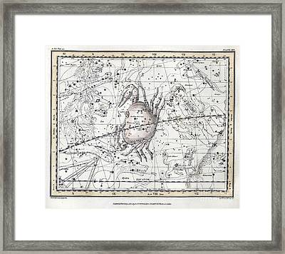Cancer Constellation, Zodiac, 1822 Framed Print by U.S. Naval Observatory Library