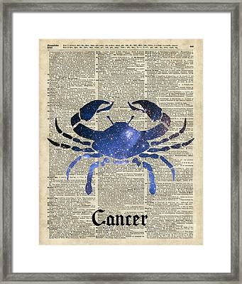 Cancer Crab Zodiac Sign  Framed Print by Jacob Kuch