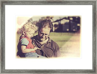 Candid Retro Father And Son Talking Framed Print by Jorgo Photography - Wall Art Gallery