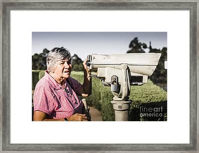 Candid Senior Woman Enjoying A Mountain Top View Framed Print