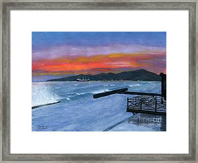 Framed Print featuring the painting Candidasa Sunset Bali Indonesia by Melly Terpening