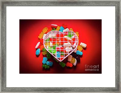 Candies And Hearts Framed Print