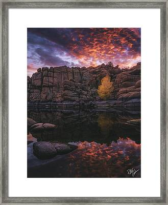 Candle Lit Lake Framed Print by Peter Coskun