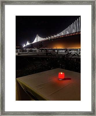Framed Print featuring the photograph Candle Lit Table Under The Bridge by Darcy Michaelchuk