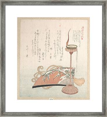 Candle Stand And Fan Framed Print by Kubo Shunman
