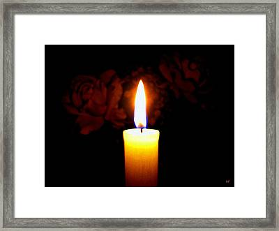 Candlelight And Roses Framed Print by Will Borden