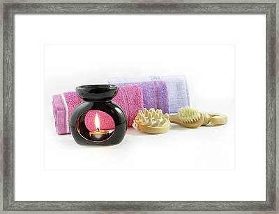 Candles And Towels. Spa Concept And Serenity Framed Print