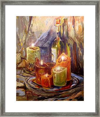 Candles And Wine Bottle Framed Print