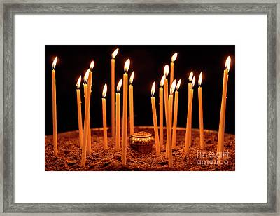 Candles At The Church Of Holy Luke At Monastery Of Hosios Loukas In Greece Framed Print