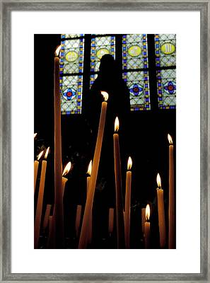 Candles Burning Inside The Basilica Of The Saint Sauveur Framed Print by Sami Sarkis