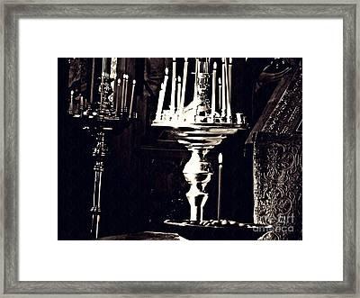 Candles In Church Card 1 Framed Print
