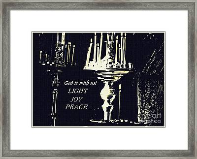 Candles In Church Card 3 Framed Print by Sarah Loft