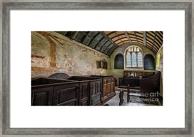 Candles In Old Church Framed Print by Adrian Evans