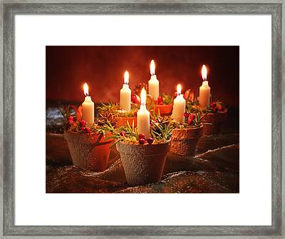 Candles In Terracotta Pots Framed Print by Amanda Elwell