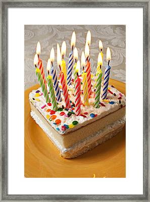 Candles On Birthday Cake Framed Print