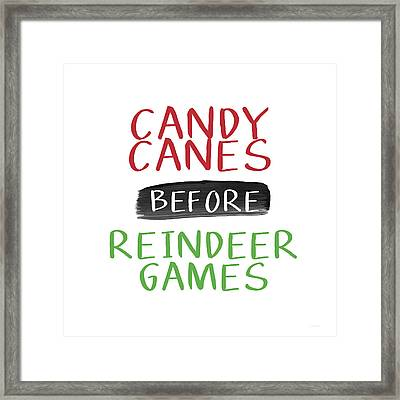 Candy Canes Before Reindeer Games- Art By Linda Woods Framed Print by Linda Woods
