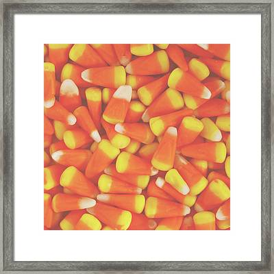 Candy Corn Square- By Linda Woods Framed Print by Linda Woods