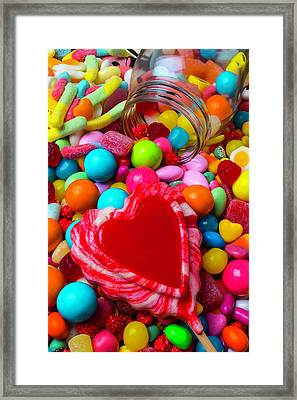 Candy Heart And Jar Framed Print by Garry Gay