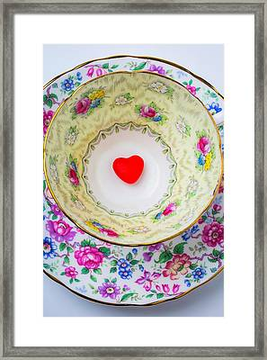 Candy Heart In Tea Cup Framed Print