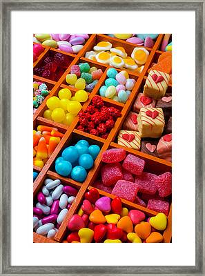 Candy In Compartments Framed Print