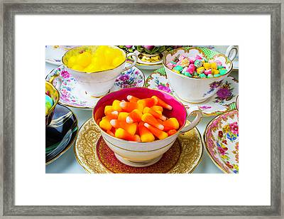 Candy In Tea Cups Framed Print